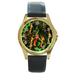 Butterfly Abstract Flowers Round Gold Metal Watch