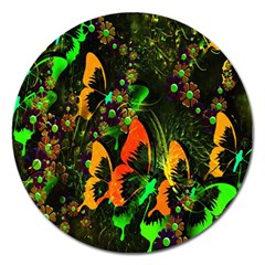Butterfly Abstract Flowers Magnet 5  (Round)