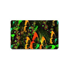 Butterfly Abstract Flowers Magnet (name Card)