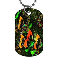 Butterfly Abstract Flowers Dog Tag (One Side)