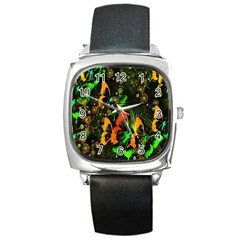 Butterfly Abstract Flowers Square Metal Watch