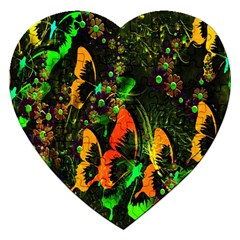 Butterfly Abstract Flowers Jigsaw Puzzle (Heart)