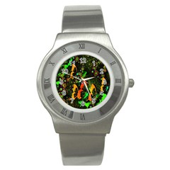 Butterfly Abstract Flowers Stainless Steel Watch