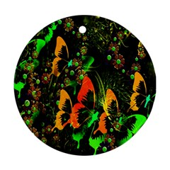 Butterfly Abstract Flowers Round Ornament (two Sides)