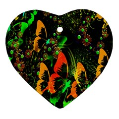 Butterfly Abstract Flowers Heart Ornament (Two Sides)