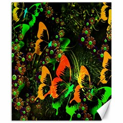 Butterfly Abstract Flowers Canvas 8  X 10