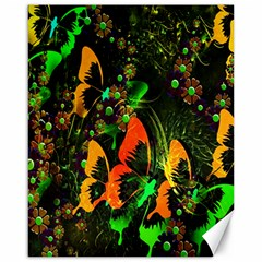 Butterfly Abstract Flowers Canvas 16  X 20