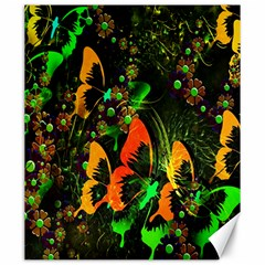 Butterfly Abstract Flowers Canvas 20  x 24