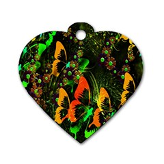 Butterfly Abstract Flowers Dog Tag Heart (Two Sides)