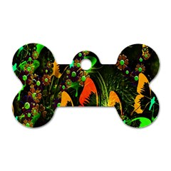 Butterfly Abstract Flowers Dog Tag Bone (Two Sides)
