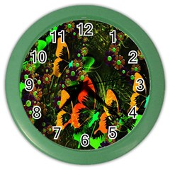 Butterfly Abstract Flowers Color Wall Clocks