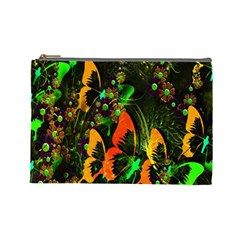 Butterfly Abstract Flowers Cosmetic Bag (Large)
