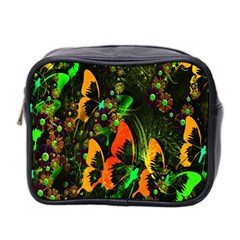 Butterfly Abstract Flowers Mini Toiletries Bag 2 Side