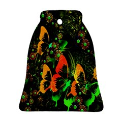 Butterfly Abstract Flowers Bell Ornament (Two Sides)