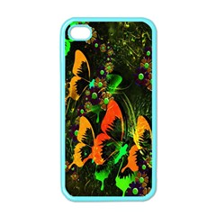 Butterfly Abstract Flowers Apple iPhone 4 Case (Color)