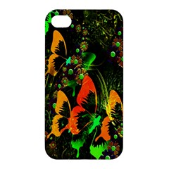 Butterfly Abstract Flowers Apple Iphone 4/4s Premium Hardshell Case