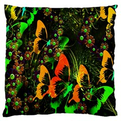Butterfly Abstract Flowers Large Cushion Case (two Sides)