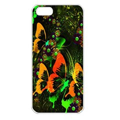 Butterfly Abstract Flowers Apple iPhone 5 Seamless Case (White)