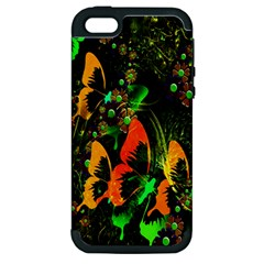 Butterfly Abstract Flowers Apple iPhone 5 Hardshell Case (PC+Silicone)