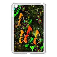 Butterfly Abstract Flowers Apple iPad Mini Case (White)