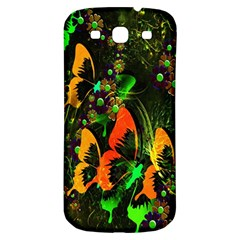 Butterfly Abstract Flowers Samsung Galaxy S3 S III Classic Hardshell Back Case
