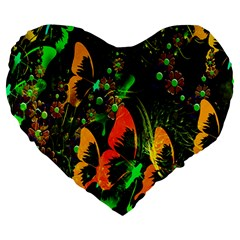 Butterfly Abstract Flowers Large 19  Premium Heart Shape Cushions