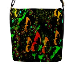Butterfly Abstract Flowers Flap Messenger Bag (l)