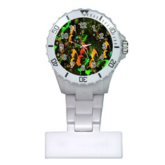 Butterfly Abstract Flowers Plastic Nurses Watch