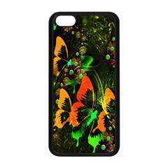 Butterfly Abstract Flowers Apple Iphone 5c Seamless Case (black)