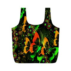 Butterfly Abstract Flowers Full Print Recycle Bags (M)