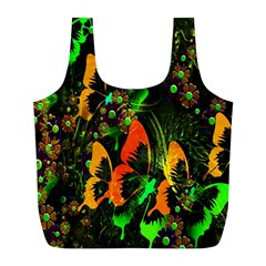 Butterfly Abstract Flowers Full Print Recycle Bags (l)