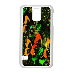 Butterfly Abstract Flowers Samsung Galaxy S5 Case (White)