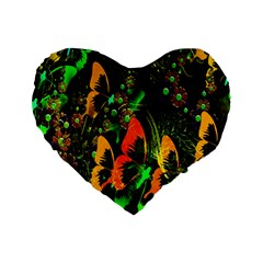 Butterfly Abstract Flowers Standard 16  Premium Flano Heart Shape Cushions