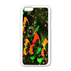 Butterfly Abstract Flowers Apple iPhone 6/6S White Enamel Case