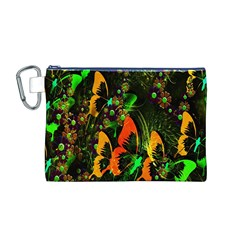 Butterfly Abstract Flowers Canvas Cosmetic Bag (M)