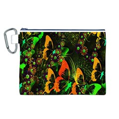 Butterfly Abstract Flowers Canvas Cosmetic Bag (l)