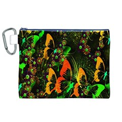 Butterfly Abstract Flowers Canvas Cosmetic Bag (xl)
