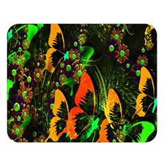 Butterfly Abstract Flowers Double Sided Flano Blanket (large)