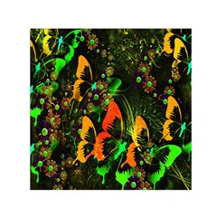Butterfly Abstract Flowers Small Satin Scarf (square)