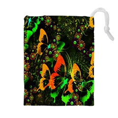 Butterfly Abstract Flowers Drawstring Pouches (Extra Large)