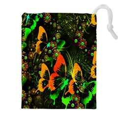 Butterfly Abstract Flowers Drawstring Pouches (XXL)