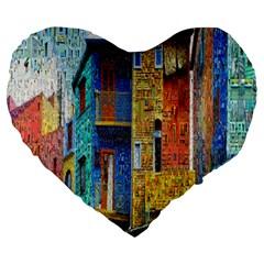 Buenos Aires Travel Large 19  Premium Flano Heart Shape Cushions