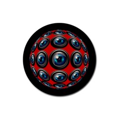Camera Monitoring Security Rubber Round Coaster (4 Pack)