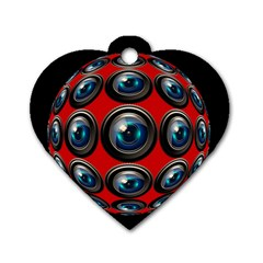 Camera Monitoring Security Dog Tag Heart (One Side)