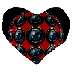 Camera Monitoring Security Large 19  Premium Heart Shape Cushions
