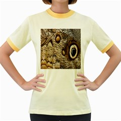 Butterfly Wing Detail Women s Fitted Ringer T-Shirts