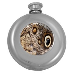 Butterfly Wing Detail Round Hip Flask (5 Oz)