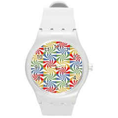 Candy Pattern  Round Plastic Sport Watch (m)