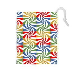 Candy Pattern  Drawstring Pouches (large)