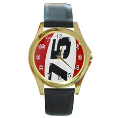 Car Auto Speed Vehicle Automobile Round Gold Metal Watch